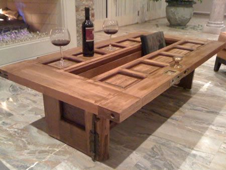 The First Word That Comes To My Mind On Seeing Red Oak Doors Coffee Table Is Clever Who Could Have Thought An Old Door More Uses Than