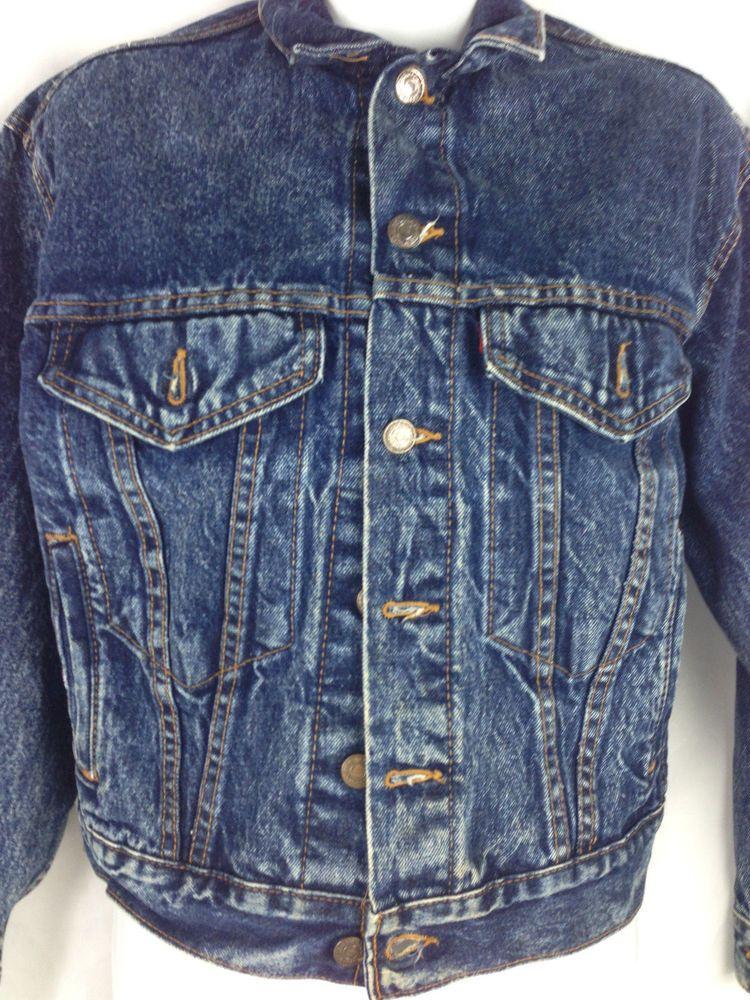 Vtg Levis 57514 1109 Red Tab Stone Denim Jean Jacket Boys L Womens S