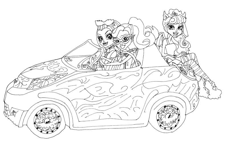 Monster High Rochelle Gregory Goyle Car Ride With Friends Coloring ...