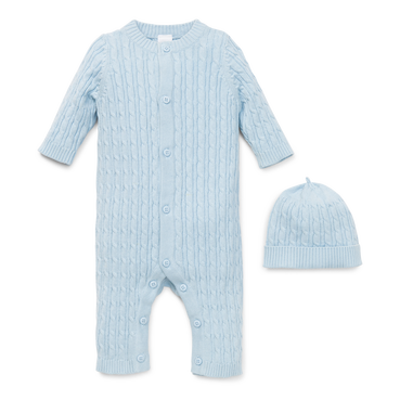 dc33b2eface1 Blue Cable Knit Sweater Coverall