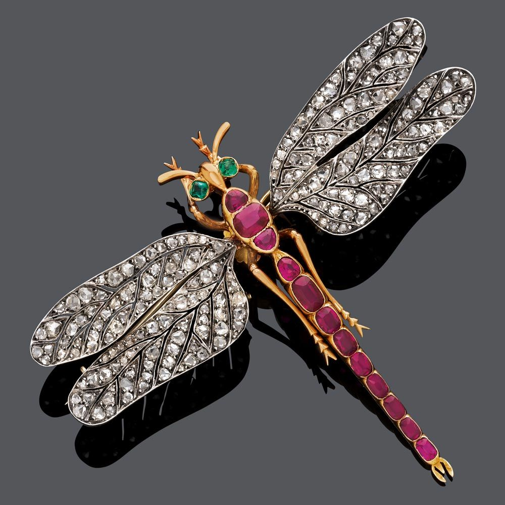 Dragonfly brooch in gold with rubies, diamonds and emeralds; circa 1890.
