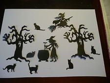 Witches, Scarey Trees, + Cats  Very Cute  Die Cuts ( Not The Die Cutter)