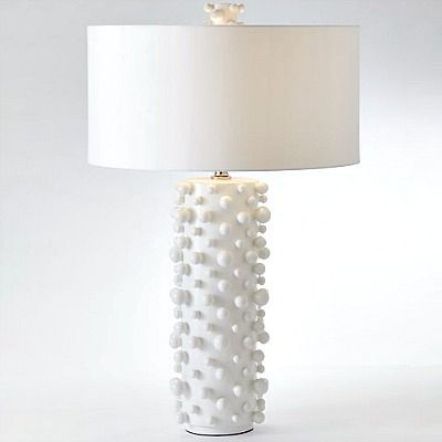 Spheres Of Varying Sizes Are Playfully Bound To The Cylindrical Ceramic Molecule Table Lamp Lamp White Table Lamp