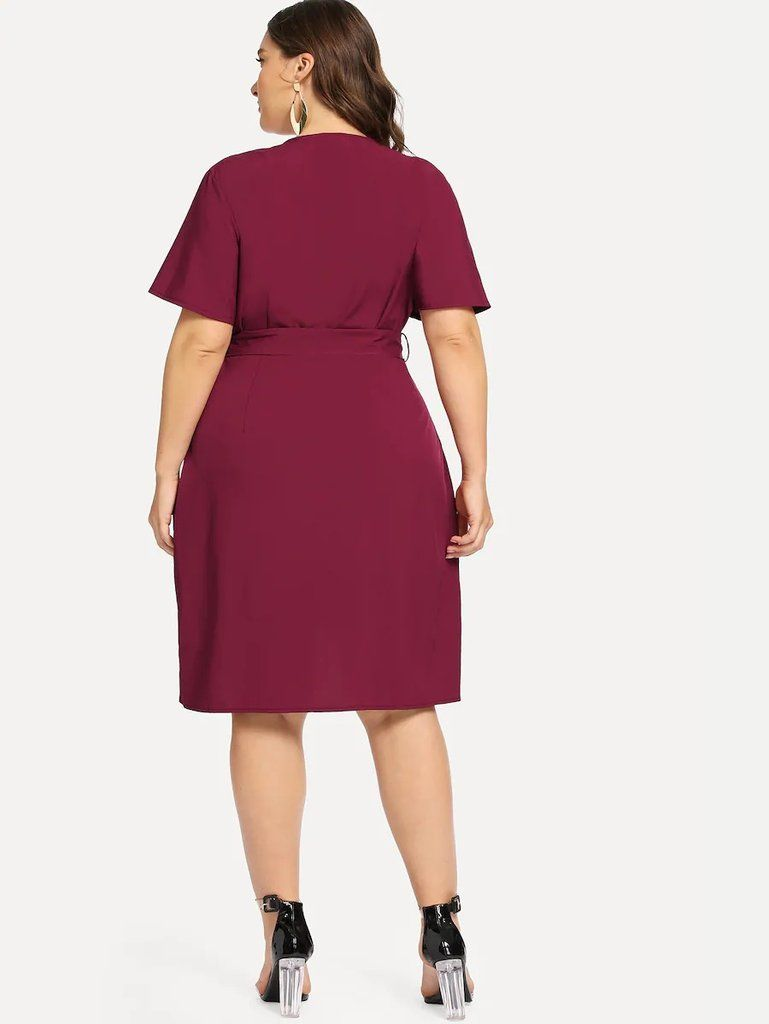 Plus Curved Hem Surplice Wrap Dress Surplice Wrap Dress Mesh Sleeved Dress Wrap Dress Work [ 1024 x 769 Pixel ]