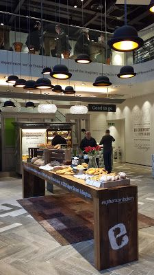 Bowler hat lights plus bread and cake display table at Euphorium Bakery's new unit in the City
