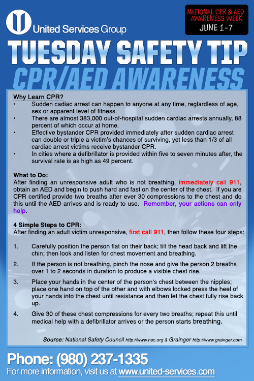 This week's Tuesday Safety Tip is about CPR/AED Awareness