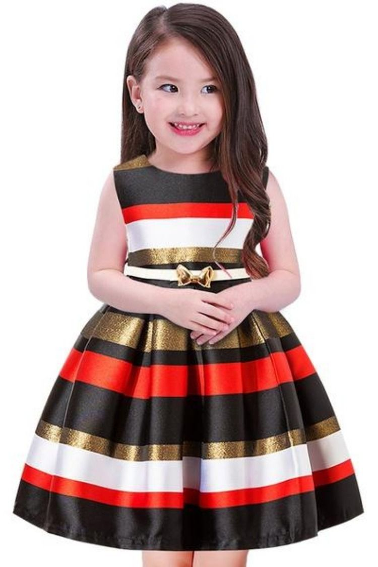 2018 Baby Princess Pageant Sleeveless Print Cloth Kids Dress For Girls Pink, 2 Year