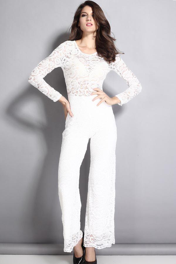 White Lace Long Sleeve Cutout Back Sexy Jumpsuit Id De Robe De