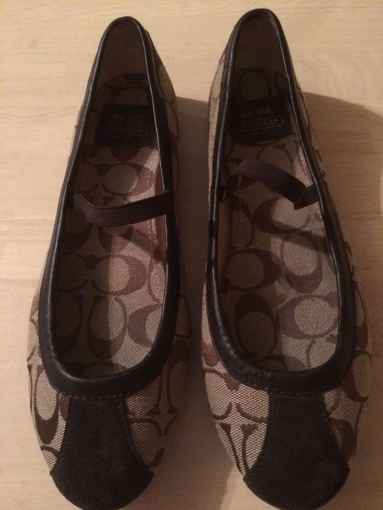 bd1231fe3 Coach Judey Signature C Brown Leather Suede Canvas Women's Flats Loafers  Size 8 #Coach #Flats
