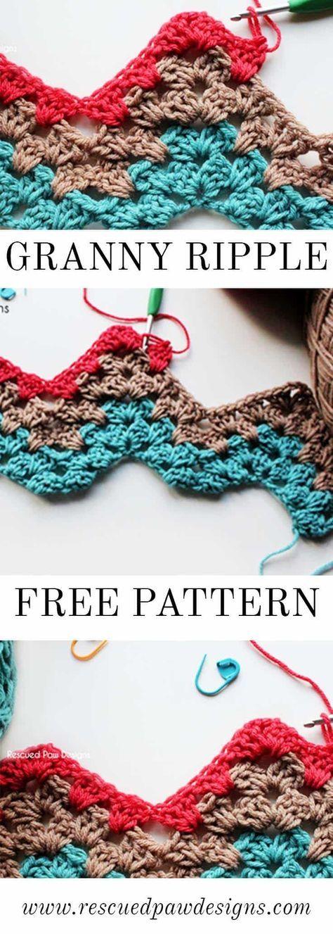Granny Ripple Crochet Pattern   Puntadas, Tejido y Ganchillo