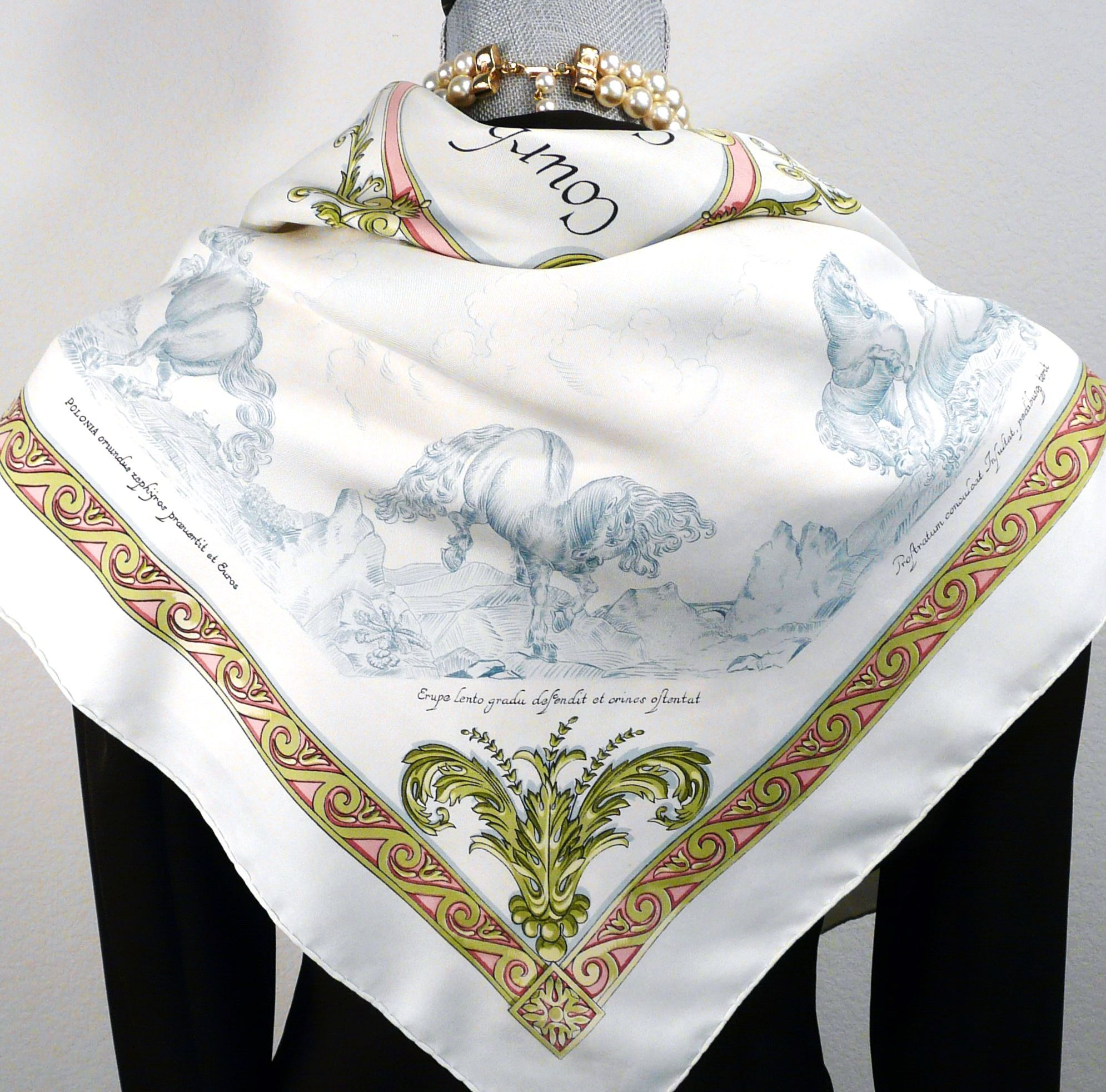 Authentic Vintage Hermes Silk Scarf Courbettes e Cabrioles (1654) Firs – Carre de Paris