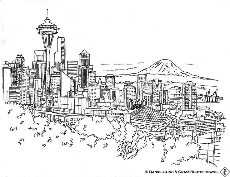 Sketch Of Seattle Skyline Seattle Skyline Classroom Auction