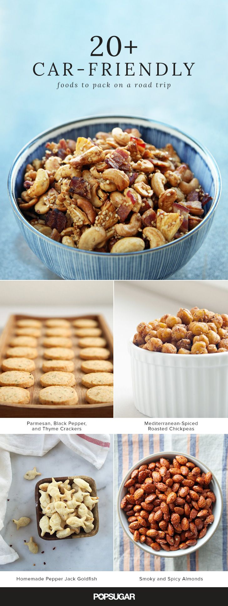 Sometimes the journey is the destination, so if you've ultimately got your sights set on good eats, then don't overlook the ever-important car snacks. Here are a few nibbles that are just as appetizing as they are portable and transport-resistant.