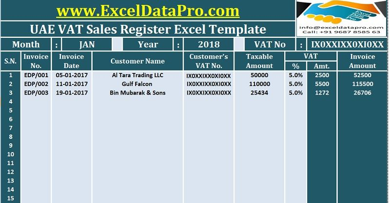 Download UAE VAT Tax Invoice Excel Template As Per The Federal Law 8 ...