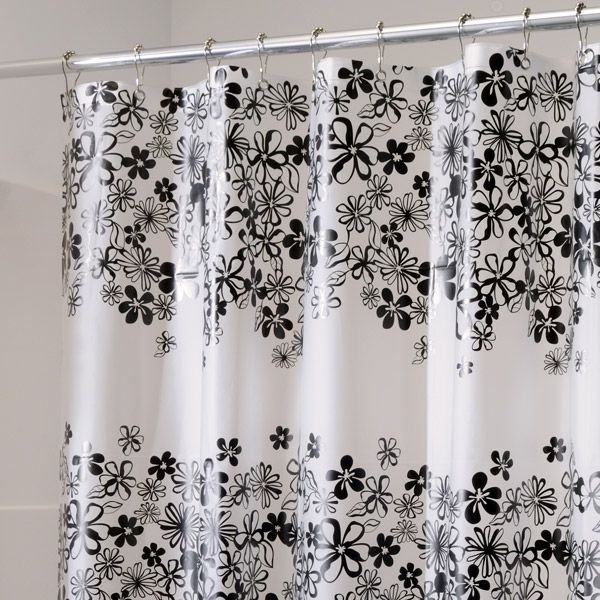 72 Long Fiore Eva Frosted Black And White Vinyl Shower Curtain By