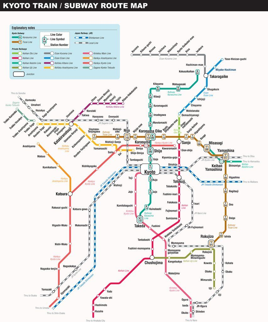 Kyoto Train / Subway route map | Maps | Pinterest | Kyoto map
