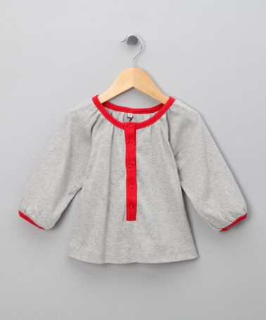 Grey Pointelle Tunic with Red Trim - Infant, Toddler & Girls by Urban Elk on #zulily today!