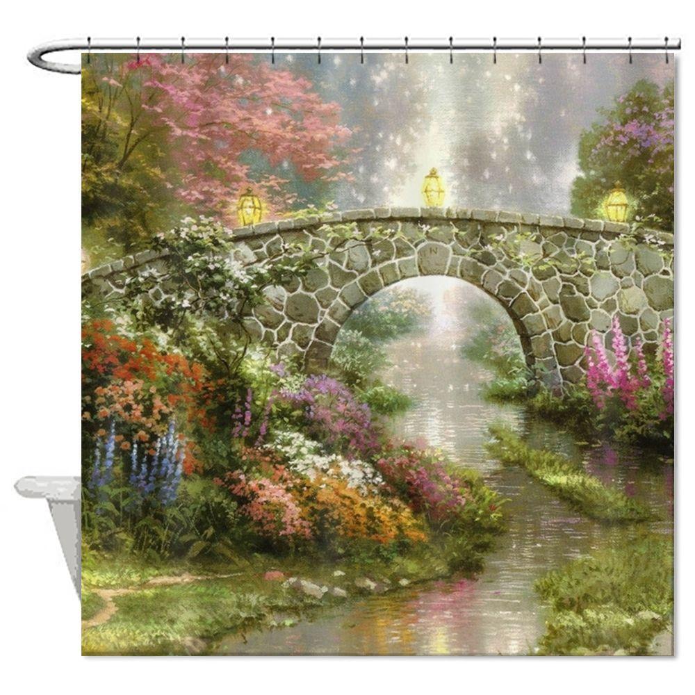 72 72 Nature Scenic Flowers Shower Curtain Bathroom Curtain