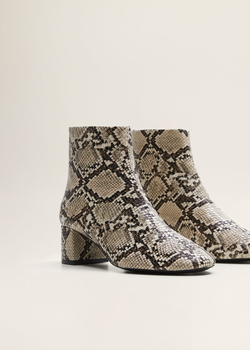 Tricoloured Snakeskin Effect Cowboy Boots in Nude by