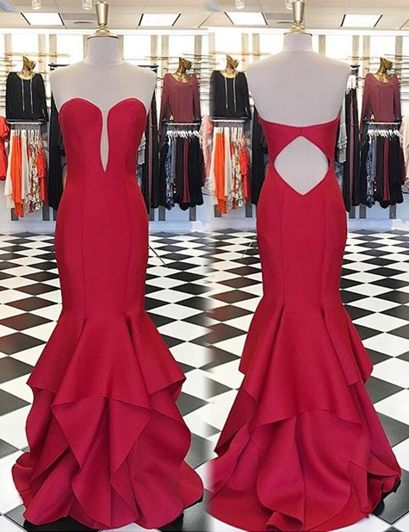 Red mermaid sweetheart sleeveless open back tiered sweep train prom