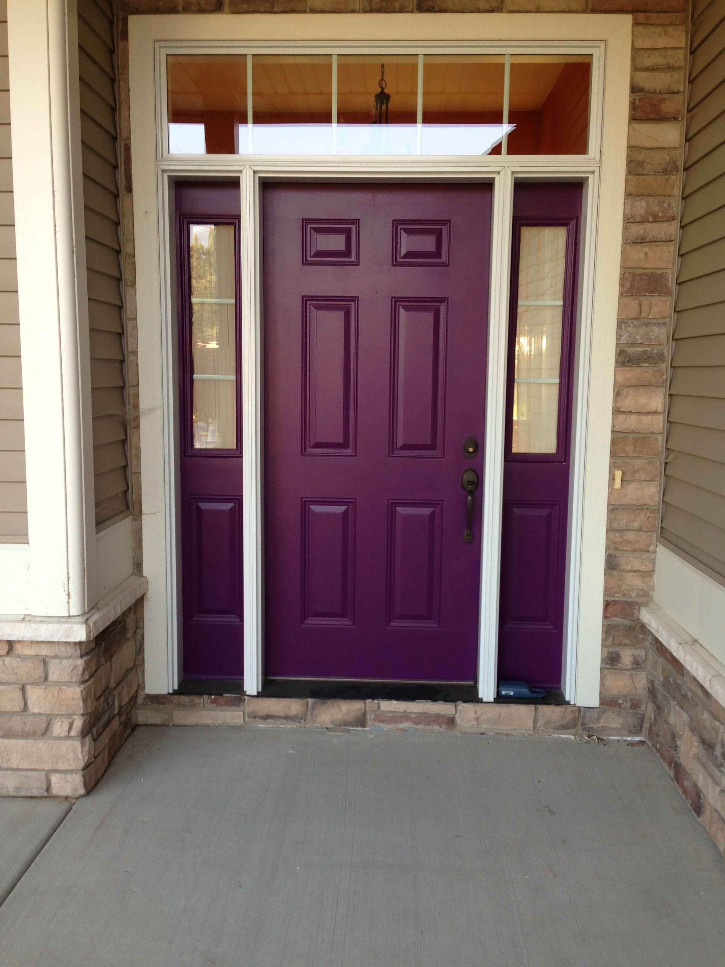 Purple Front Door Front Door Light Green House