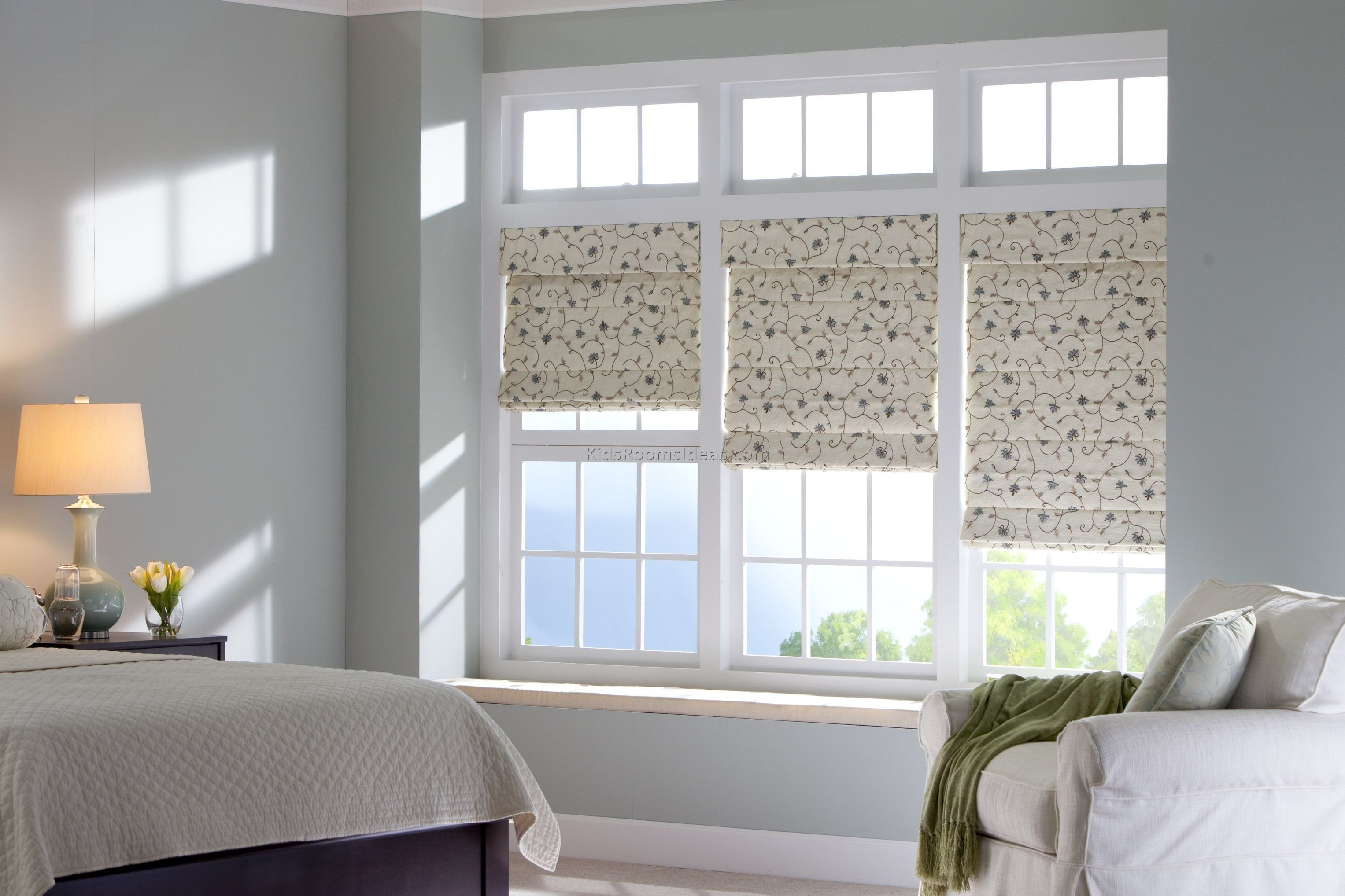 Bed against window with curtains  image result for solar shade on window behind bed  bedroom shades