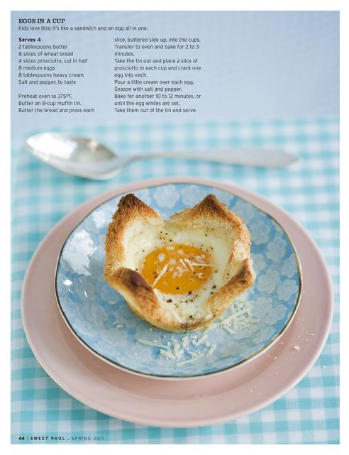 Eggs in a cup (using a muffin tin).  This concept could be used for other recipes.
