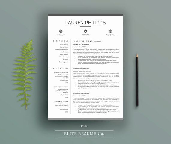 Professional Resume TemplateCv Template  Cover Letter