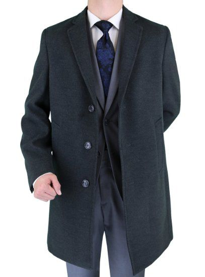 AmazonSmile: Luciano Natazzi Made in Italy Topcoat Mens Overcoat Above Knee Stretch Charcoal: Clothing
