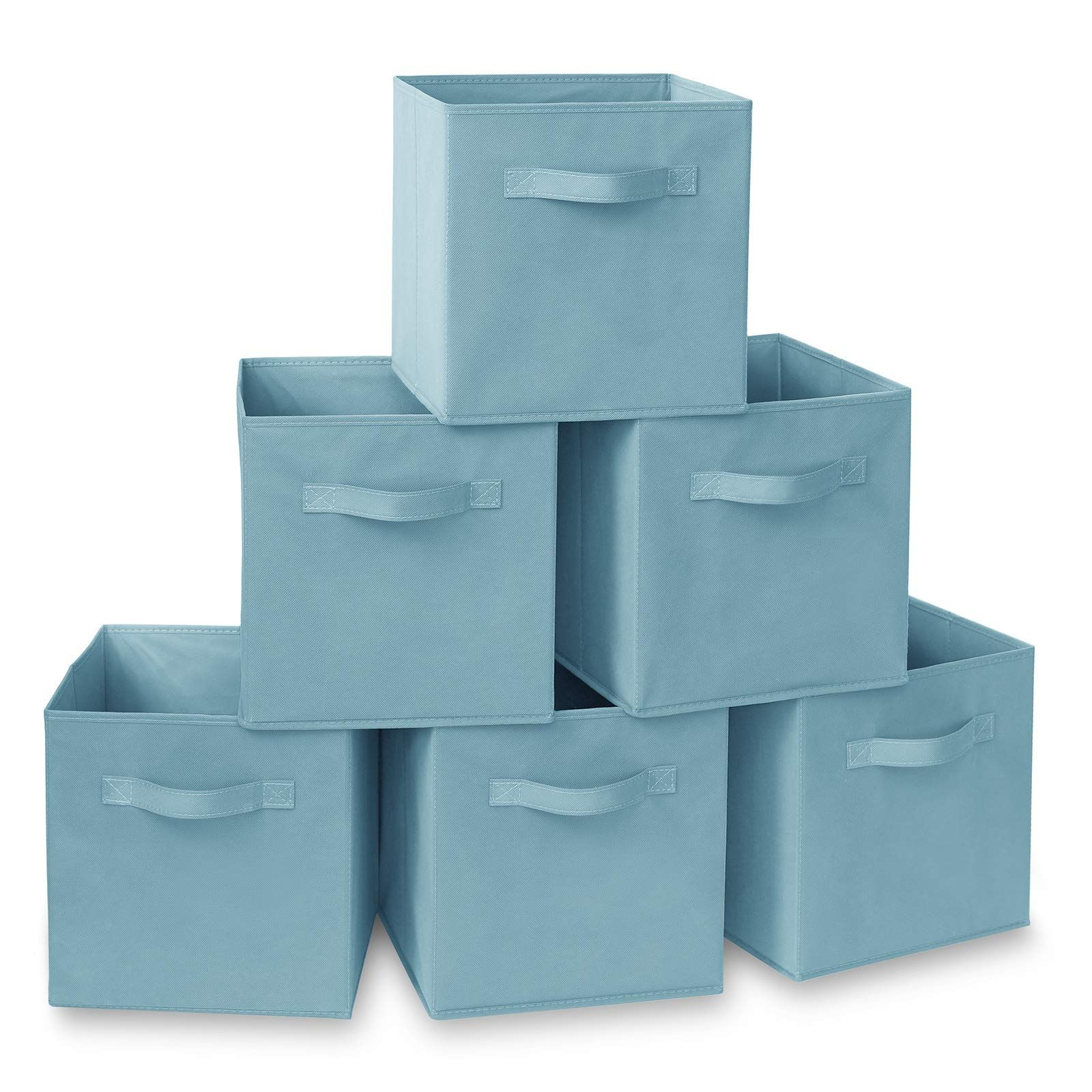 Casafield Set Of 6 Collapsible Fabric Cube Storage Bins Baby Blue 11 Foldable Cloth Baskets For Shelves In 2020 Cube Storage Bins Storage Bins Baskets For Shelves