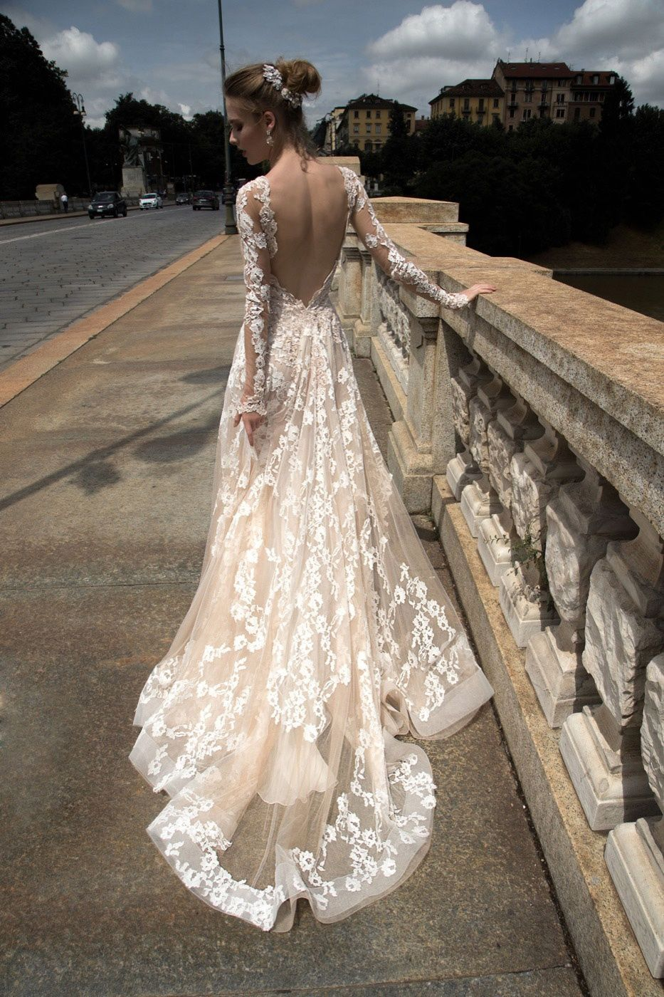 Blush long sleeve backless lace tulle wedding dress blush for Backless wedding dresses with sleeves