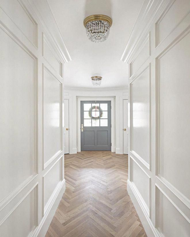 White Dove by Benjamin Moore Wall paneling and staircase
