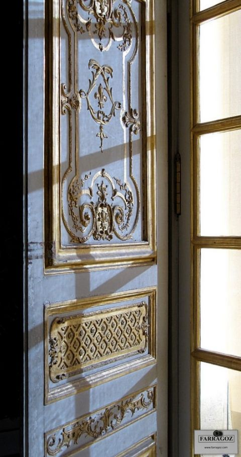 Painted shutter with gold mouldings at Versailles & Painted shutter with gold mouldings at Versailles | Patina and ...