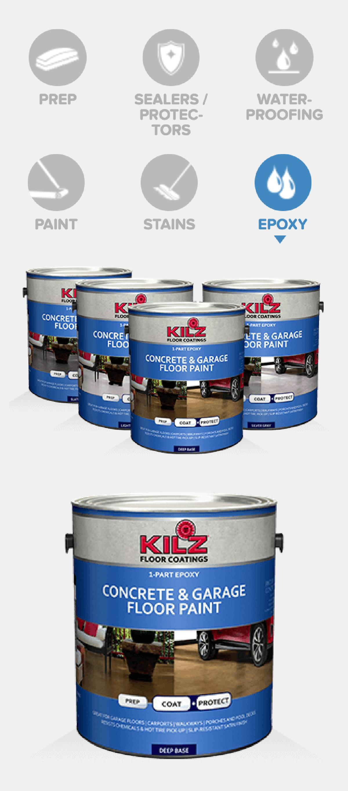 Kilz 1 Part Epoxy Concrete Garage Floor Paint Is A High Performance Concrete Coating Product That I Garage Floor Paint Painted Concrete Floors Painted Floors