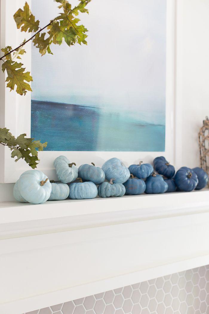 Coastal Fall Mantel Decor - Decorating a coastal inspired home for fall