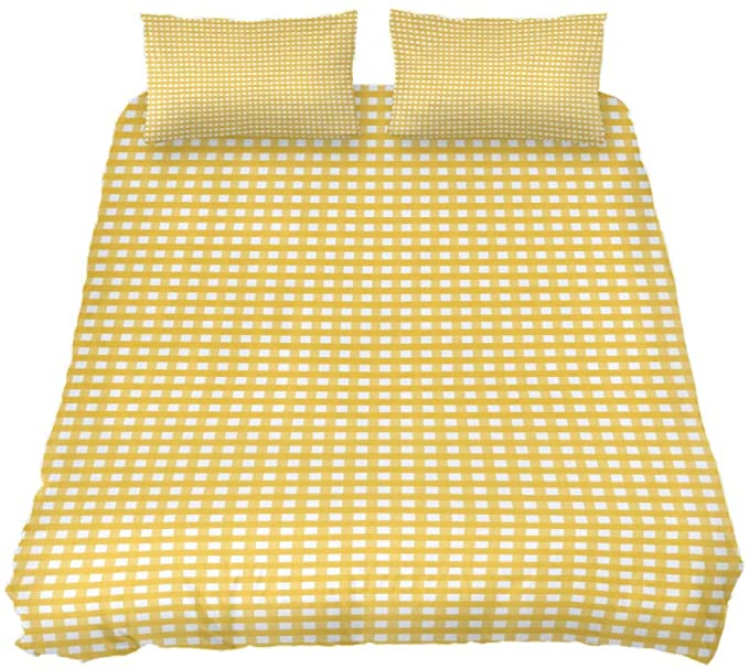 Amazon Com Newzone Queen Duvet Cover Set Yellow Gingham Check Plaid Bedding Sets Comforter Cover With Soft Li Plaid Bedding Sets Plaid Bedding Comforter Cover