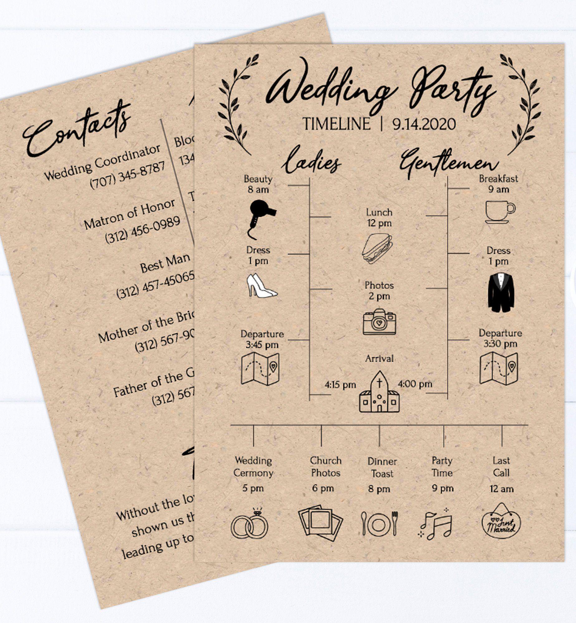 Rustic Wedding Party Timeline Printable Wedding Day