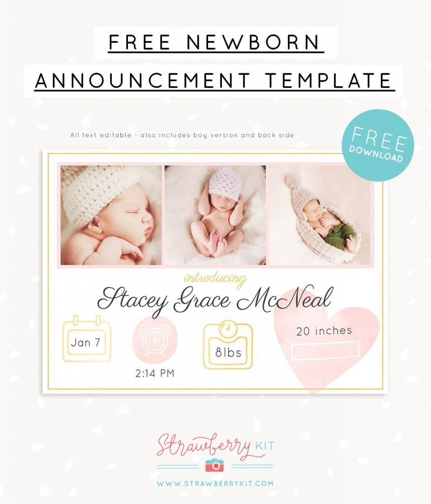 Free Birth Announcement Template For Photoshop Birth Announcement Template Newborn Birth Announcements Newborn Announcement