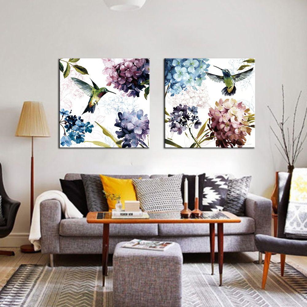 2 Panel Leinwand Malerei Bunte Blume Einfach Nordic Poster und ...