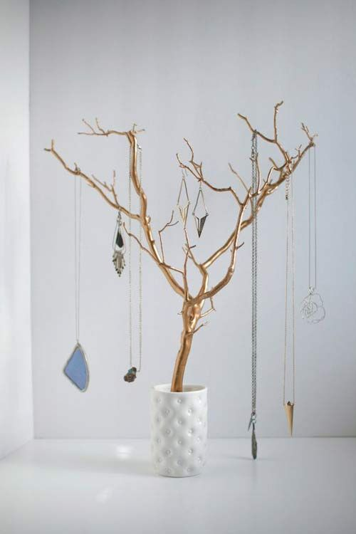 Necklace Tree Disaply Organization Jewelry Storage Diy Diy Jewelry Holder Diy Necklace Holder