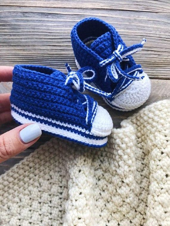 6a008bac6541 One month old baby booties Blue crochet sneakers for boy Hand ...