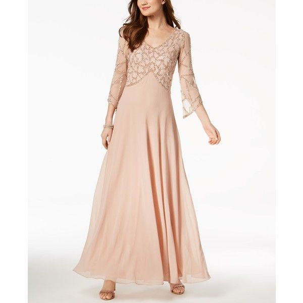 J Kara Embellished V-Neck Gown ($269) ❤ liked on Polyvore featuring ...