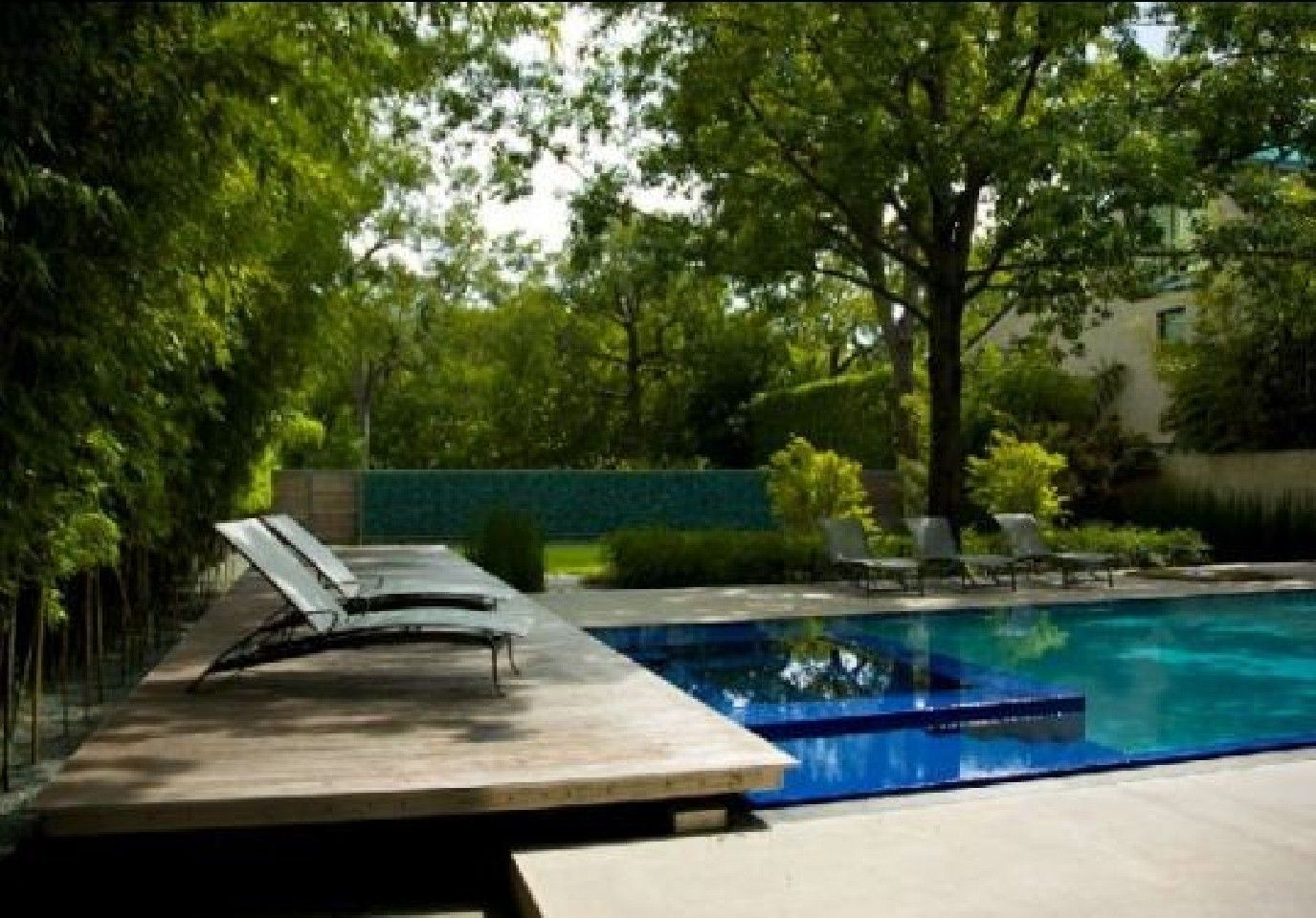 nature modern wooden house garden and swimming pool at