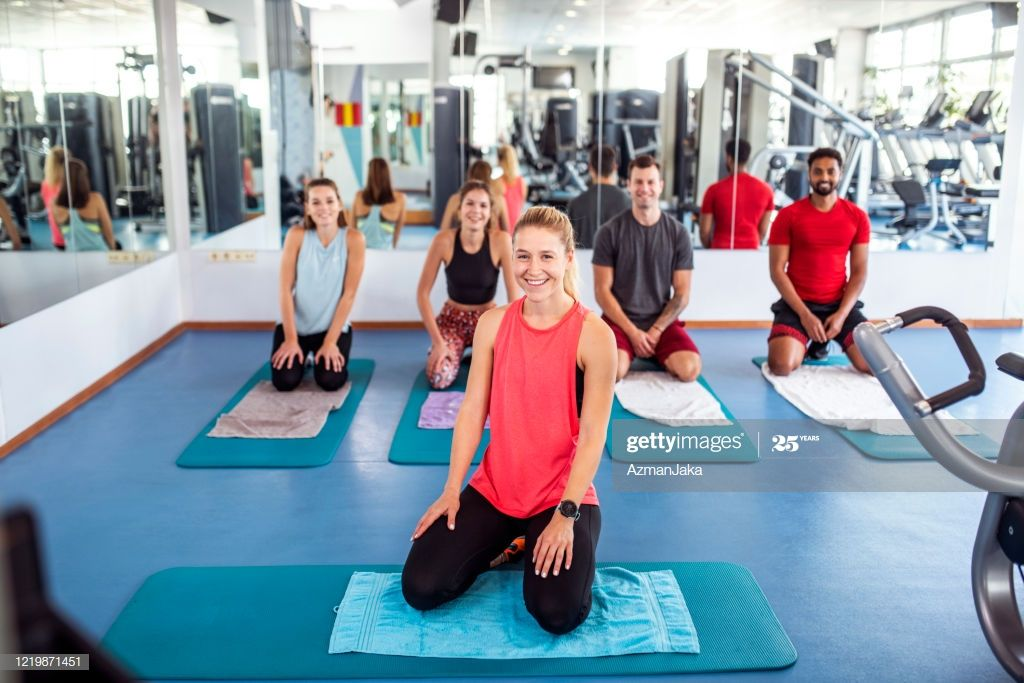 Portrait Of Workout Group With Fitness Instructor At Gym Photography #Ad, , #Aff, #Group, #Workout,...