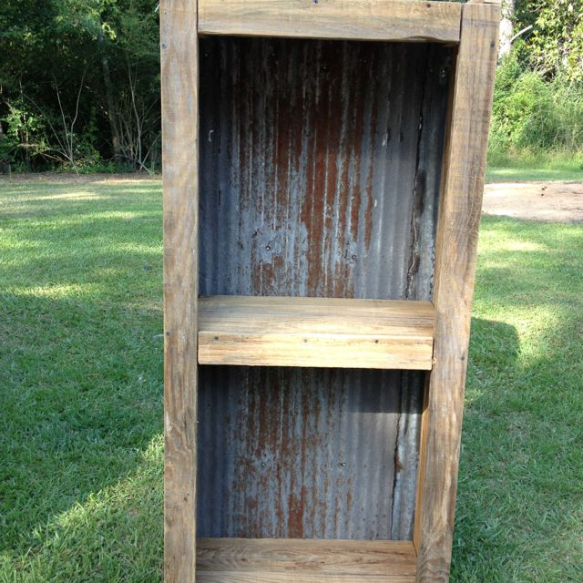 tin furniture. barn wood and old tin shelf furniture