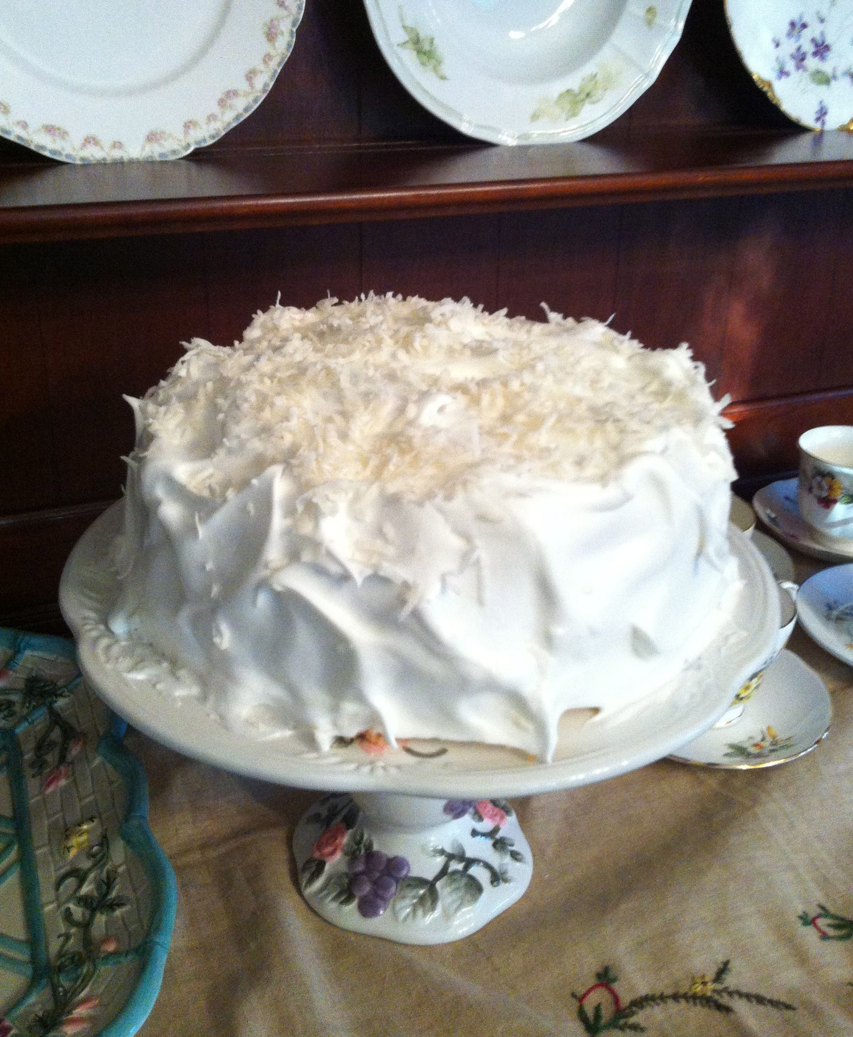 Coconut layer cake made for my seventh birthday.