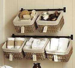 Baskets Pottery Barn Bathroom Towel Storage Baskets On Wall