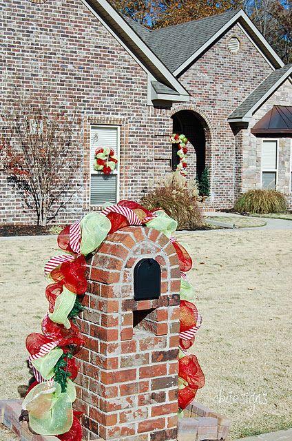 christmas mailbox decomesh decoration garland - Brick Mailbox Christmas Decorations