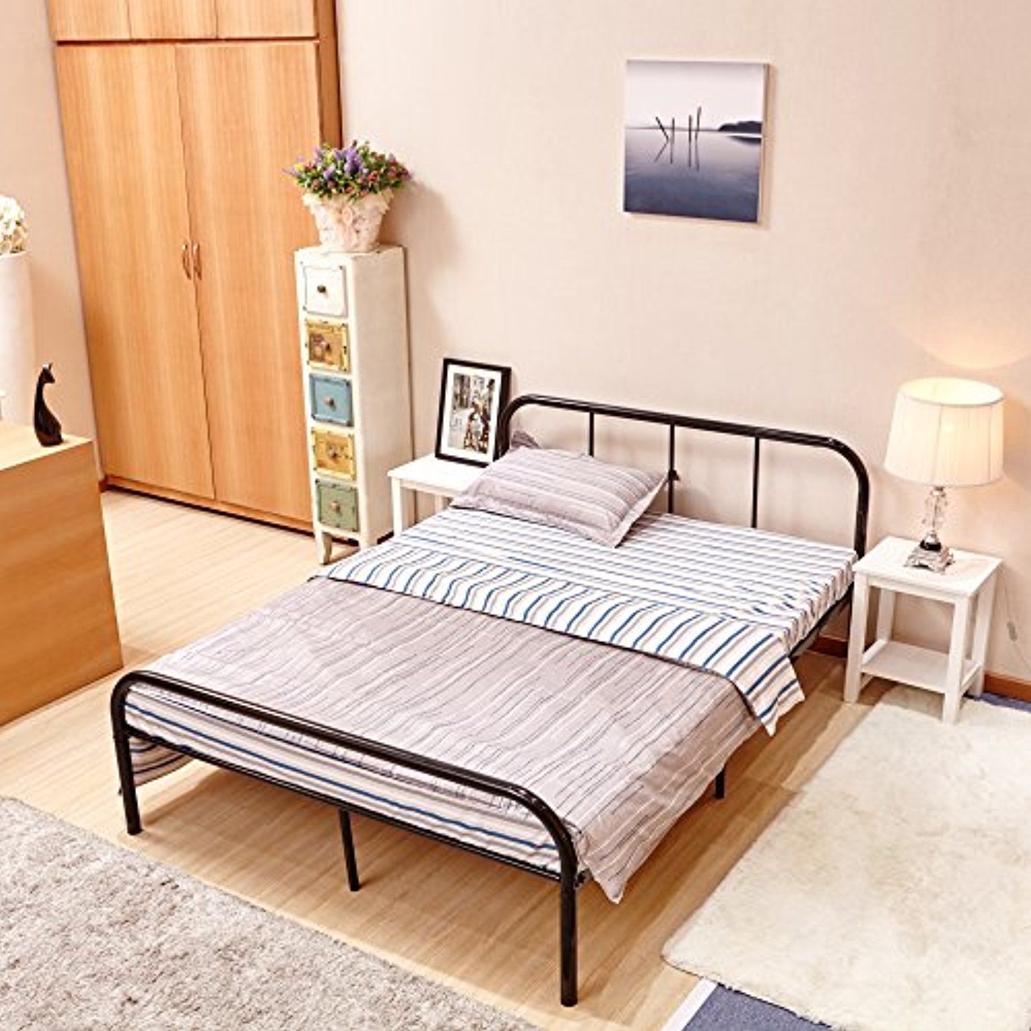 Greenforest Full Size Bed Frame With Headboard And Stable Metal