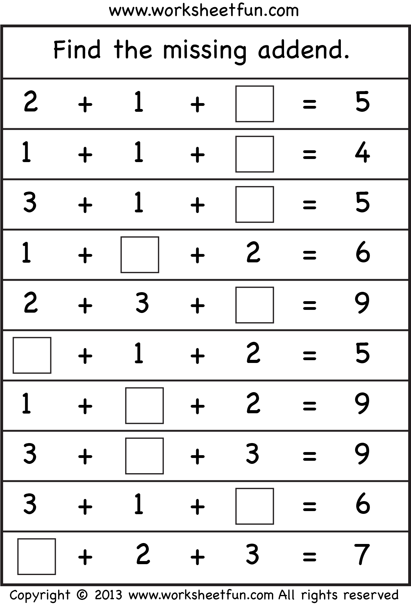 Missing Addend Worksheets To Free Download Missing Addend Worksheets 1st Grade Fr Mental Maths Worksheets First Grade Math Worksheets First Grade Worksheets